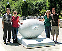 the family in front of an 'egghead'